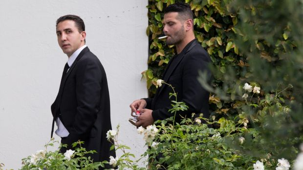Made then unmade: Brunswick organised crime boss Rocco Arico (left) at a funeral in 2016.