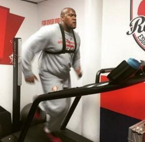 Power: Brandon Thomas hits the Roosters treadmill.