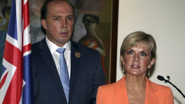 Foreign Minister Julie Bishop and Immigration Minister Peter Dutton at a press conference on the sidelines of the Bali ...