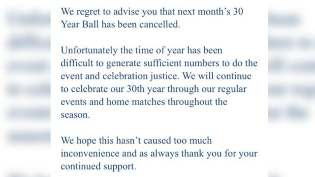 An excerpt from an email sent out by the Eagles on Wednesday.