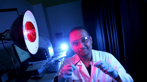 RMIT University researcher Dr Rajesh Ramanathan in his nanotechnology lab.