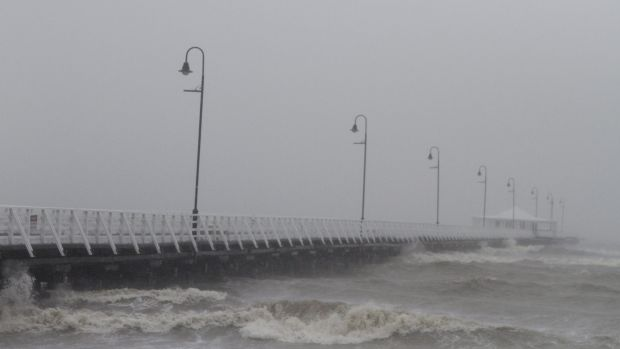 The old Shorncliffe pier during cyclonic conditions that affected the Queensland coast in January, 2013.