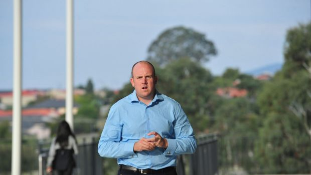 Brumbies general manager Simon Chester arrives at Wednesday's meeting.