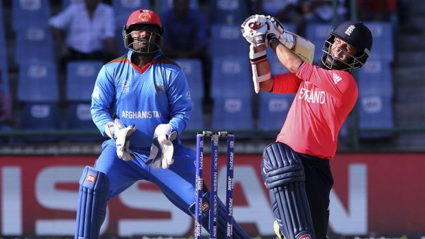 England's Moeen Ali uses the long handle to good effect against Afghanistan on Wednesday.
