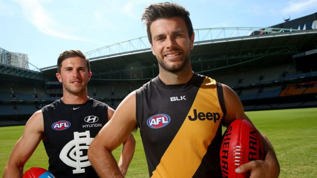 Ahoy captains: Trent Cotchin and Marc Murphy at the 2016 season launch at Etihad Stadium.