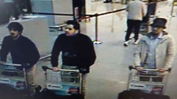 The man in the centre is Ibrahim el-Bakraoui, who blew himself up at Brussels Airport.  His brother Khalid set off a ...