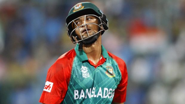 Off you go: Bangladesh's Shakib Al Hasan can only look on as he loses his wicket.
