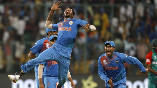 Just like that: India's Hardik Pandya jumps to celebrate India's win over Bangladesh.