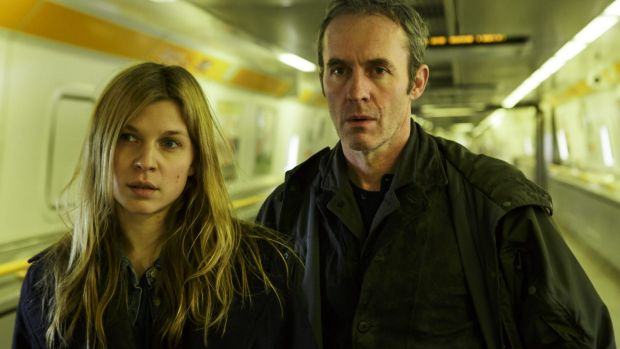 Stephen Dillane and Clemence Poesy in <i>The Tunnel</i>.
