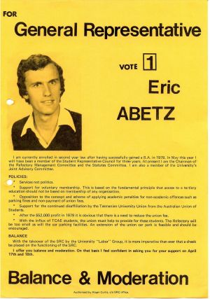 Abetz's flyer for the University of Tasmania student elections.