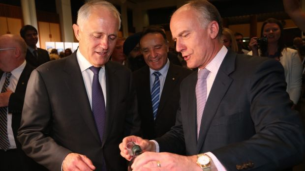 Eric Abetz (right) has offered some advice on savings to Malcolm Turnbull (left).
