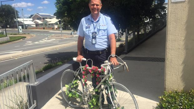 Senior Sergeant Greg Bishop found the ghost bike honouring Rebekka Meyer dumped.