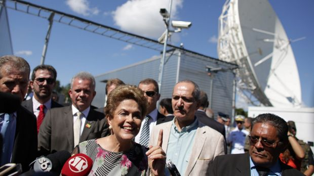 Brazilian President Dilma Rousseff during a visit to ground infrastructure works for Geostationary Satellite Operation ...