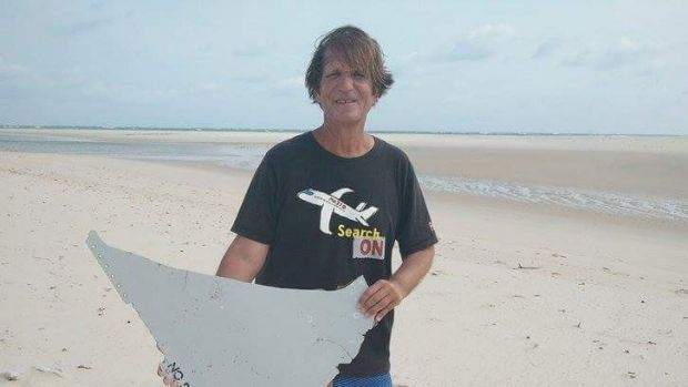 Blaine Gibson with a piece of the wreckage he found off the Mozambique coast.