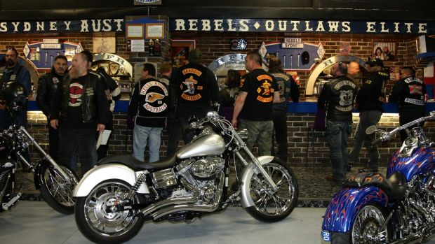 Members of several of the bikers clubs in NSW gather at the Rebels' national headquarters for the United Motorcycle ...
