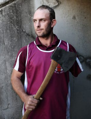Woodchopper Nick Fredriksen lost his arm when he was eight years old. He will feature at The Sydney Easter Show.