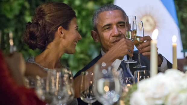 US President Barack Obama and Argentinian First Lady Julian Awada at the state dinner in Buenos Aires on Wednesday.
