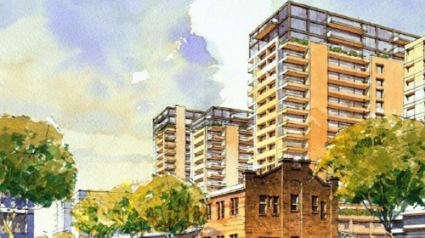 Picture perfect: Early artist's impression for new housing at North Eveleigh, near Carriageworks.