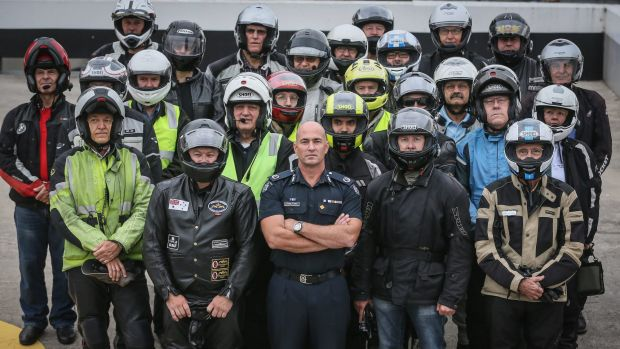 Road policing Assistant Commissioner Doug Fryer at  the launch of  Operation Nexus with 24 motorcyclists representing ...