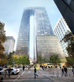 An artist's impression of plans for 447 Collins Street.