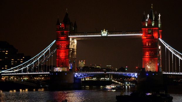 London Bridge, one of many London landmarks lit up in support of Belgium following the terrorist attacks in Brussels.