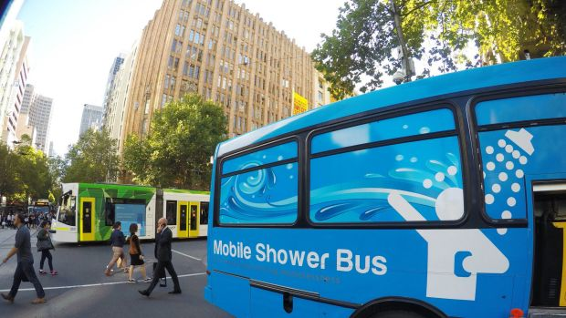 The mobile shower bus parked outside the Melbourne town hall.