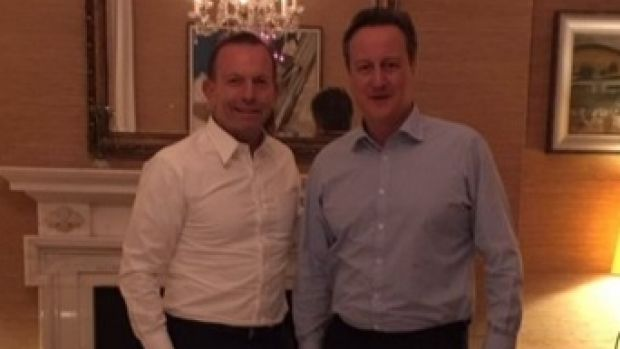 Tony Abbott meeting with British Prime Minister David Cameron.