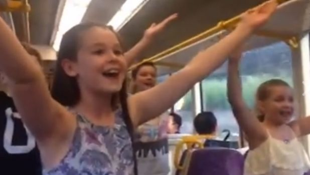 The cast of The Sound of Music performed a flash mob on a Brisbane train.