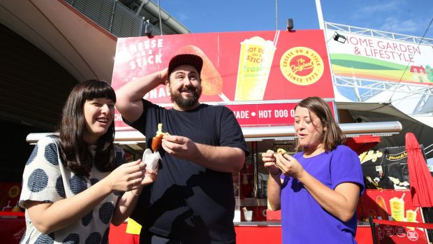 Jemma Whitman, Mike Eggert and Berri Eggert go taste testing at the Sydney Royal Easter Show.