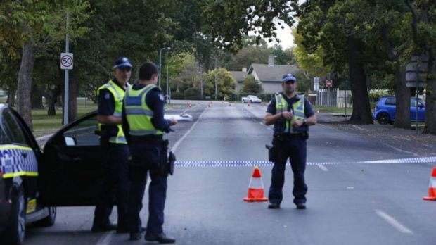 Police at the scene of the hit and run in Ballarat.