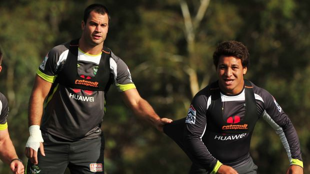 David Shillington and Josh Papalii when they were Canberra Raiders teammates in 2013.