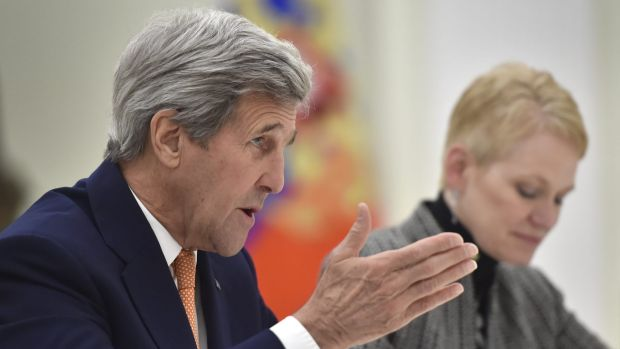 US Secretary of State John Kerry speaks to Russian President Vladimir Putin in Moscow on Thursday.