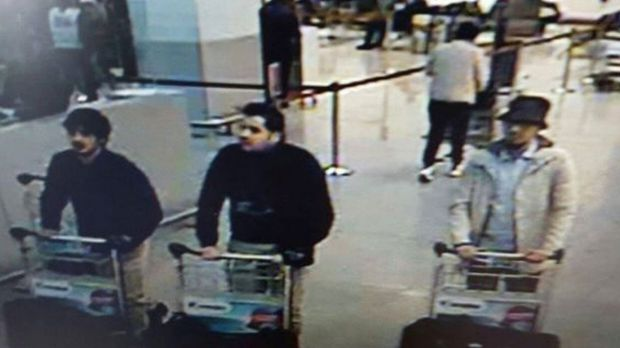 Three men who are suspected of taking part in the attacks at Belgium's Zaventem Airport. The man at centre has been the ...