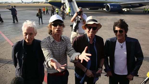 Charlie Watts, Mick Jagger, Keith Richards and Ronnie Wood of the Rolling Stones arrive at the Jose Marti International ...