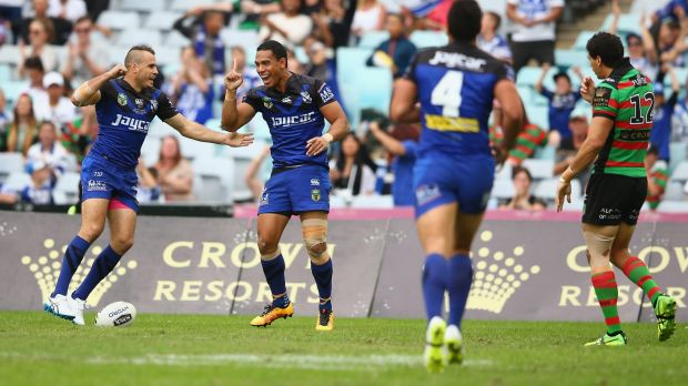 Devoted: Will Hopoate celebrates scoring a try during the round four NRL match between the South Sydney Rabbitohs and ...