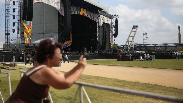 The stage is prepared for the free concert Rolling Stones concert in Havana.
