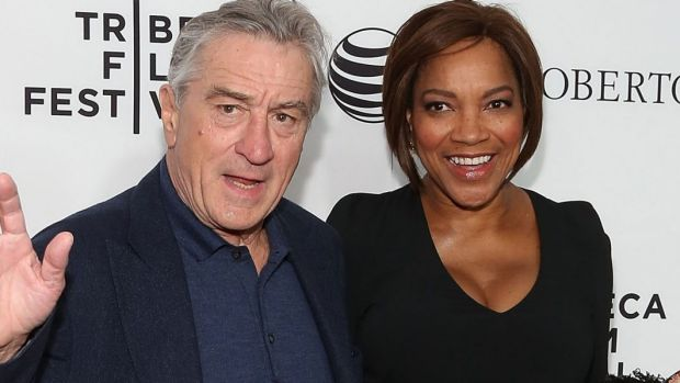Robert De Niro and wife, Grace Hightower, attend the Tribeca Film Festival in 2015.