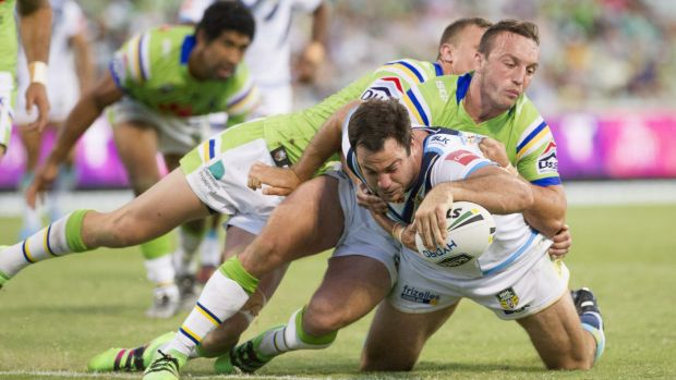 Titans prop David Shillington scores a try in Saturday night's 24-20 win against the Raiders at Canberra Stadium.