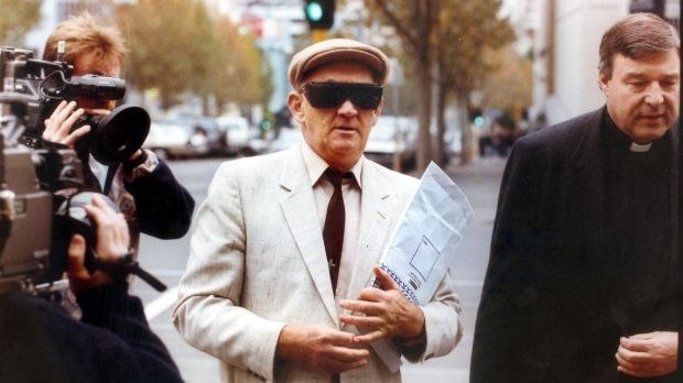 Gerald Ridsdale outside court with George Pell in 1993.