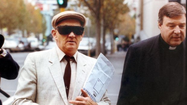 Paedophile priest Gerald Ridsdale outside court with George Pell in 1993.