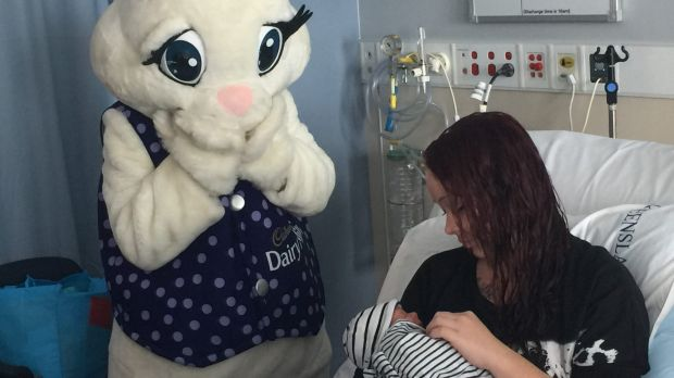 Baby Bentley, with his mum, Skye, welcomed as Brisbane's first Easter baby.
