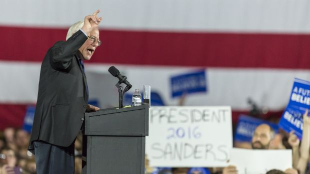 Bernie Sanders speaks at a campaign stop in Madison, Wisconsin, at the weekend.