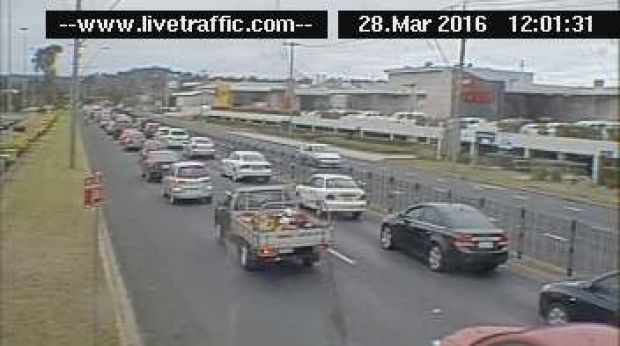 The traffic on the Princes Highway at Beach Road looking north towards Nowra at midday on Monday.