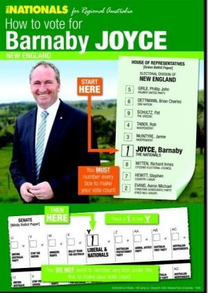 A how-to-vote leaflet for Barnaby Joyce, authorised by caged egg producer Bede Burke.
