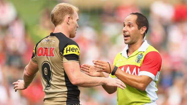 Explanation: Panthers veteran Peter Wallace makes his point to referee Ashley Klein.