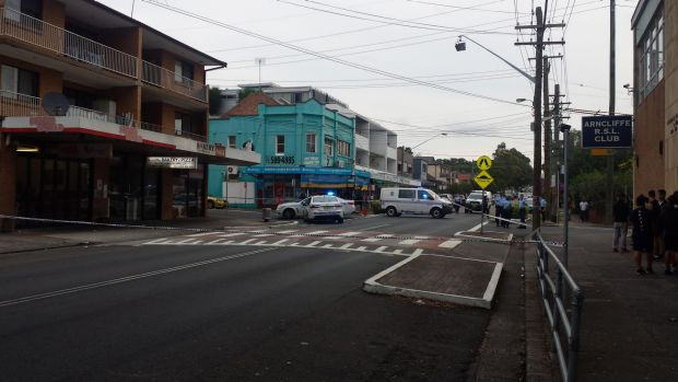 Police have cordoned off a section of Wollongong Street in Arncliffe after a 28-year-old man was shot repeatedly.