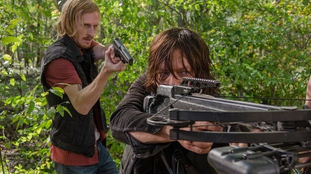 Dwight (Austin Amelio) takes Daryl (Norman Reedus) by surprise in The Walking Dead season 6 episode 15 East.