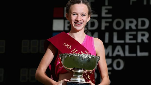 Talia Martin with the Stawell Gift trophy.