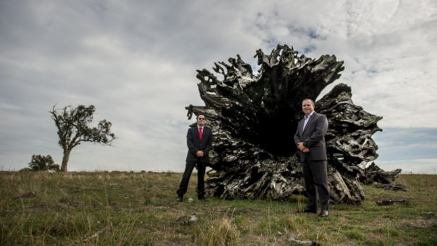 ACT Shelter boss Travis Gilbert and CSIRO general manager Mark Wallis at the Ginninderra Field Station.