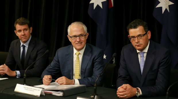 NSW Premier Mike Baird, Prime Minister Malcolm Turnbull and Victorian Premier Daniel Andrews.